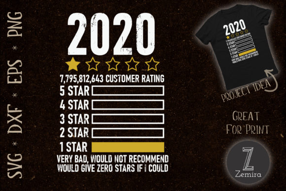 Print on Demand: 2020 Bad Would Not Recommend One Star Graphic Print Templates By Zemira