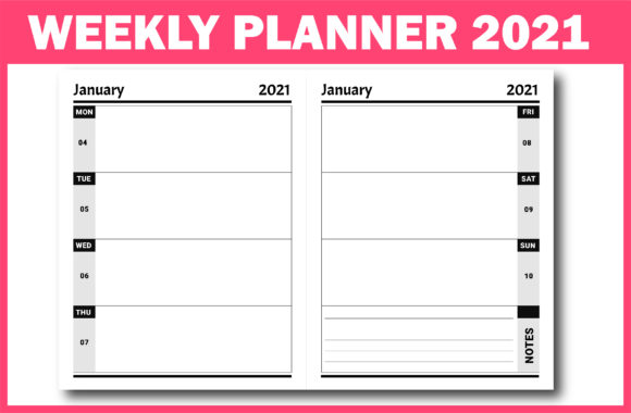 Print on Demand: 2021 Planner with Dates Ready for KDP Graphic KDP Interiors By Fayne - Image 3
