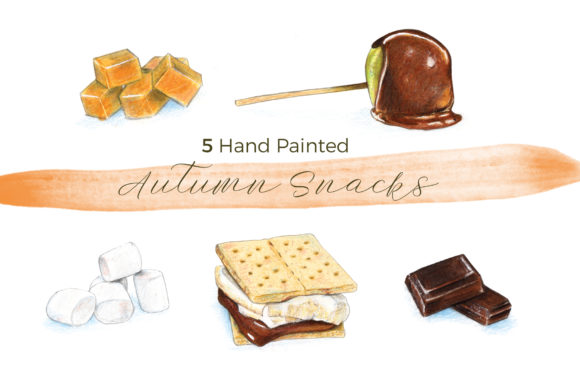 5 Hand Painted Autumn/Fall Snacks Graphic Illustrations By Miriam Figueras Illustration
