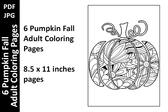 6 Pumpkin Fall Adult Coloring Pages Graphic Coloring Pages & Books Adults By Oxyp - Image 1