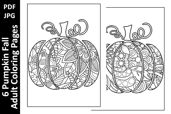 6 Pumpkin Fall Adult Coloring Pages Graphic Coloring Pages & Books Adults By Oxyp - Image 2