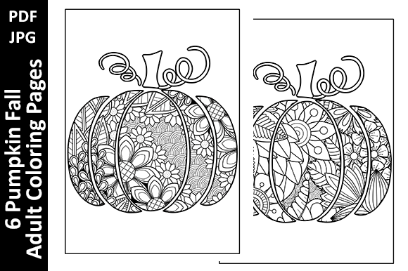 6 Pumpkin Fall Adult Coloring Pages Graphic Coloring Pages & Books Adults By Oxyp - Image 3