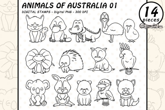 Animals of Australia - Digital Stamps Graphic Illustrations By clipartfables