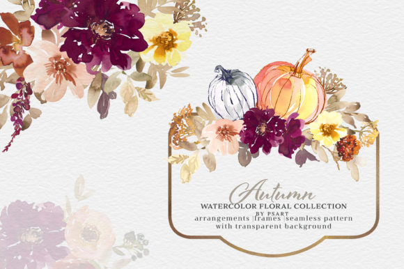 Autumn Watercolor Floral Clipart Collection Gráfico Ilustraciones Por Patishop Art
