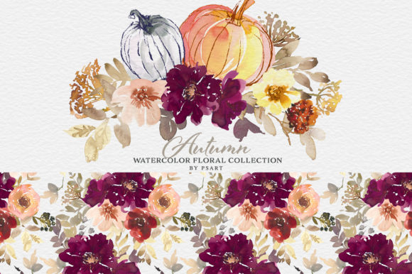 Autumn Watercolor Floral Clipart Collection Graphic Download