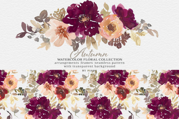 Autumn Watercolor Floral Clipart Collection Graphic Item