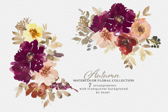 Autumn Watercolor Floral Clipart Collection Graphic Image