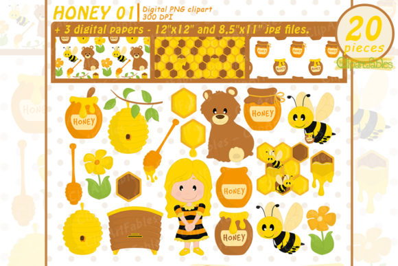 Bee Clipart Set, Honey Art, Bumble Bee Graphic Illustrations By clipartfables