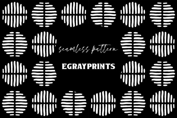 Print on Demand: Black/White Striped Doodle Spots Pattern Graphic Patterns By brightgrayart