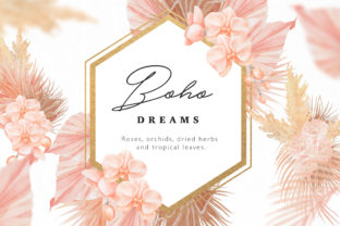 Print on Demand: Boho Dreams Frames Watercolor Flowers Graphic Illustrations By  Drawbbit