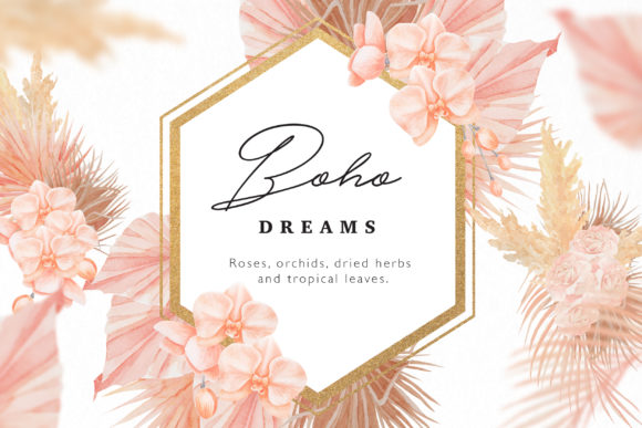 Boho Dreams Frames Watercolor Flowers Graphic Illustrations By  Drawbbit