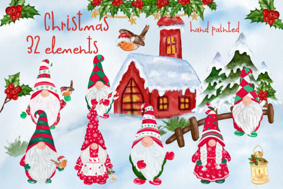 Christmas Gnomes Clipart Graphic Illustrations By vivastarkids