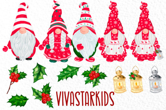 Christmas Gnomes Clipart Graphic Download