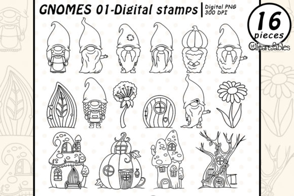 Cute Gnomes Graphic Illustrations By clipartfables
