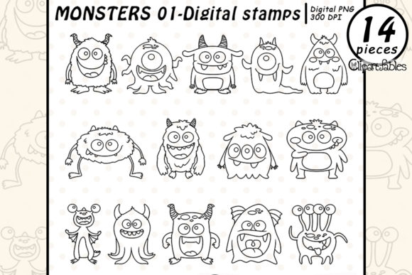 Cute Monsters - Digital Stamps Graphic Illustrations By clipartfables