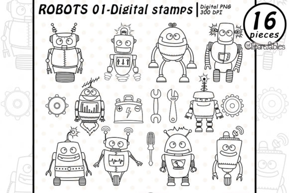 Cute Robots - Digital Stamps Graphic Illustrations By clipartfables