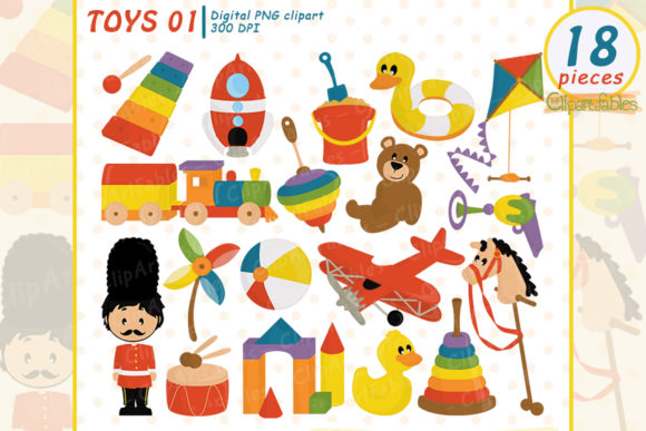 Cute TOYS Clipart, Wooden - Retro Toys Graphic Illustrations By clipartfables
