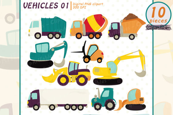 Cute Vehicles Clipart, Truks, Tractor Graphic Illustrations By clipartfables