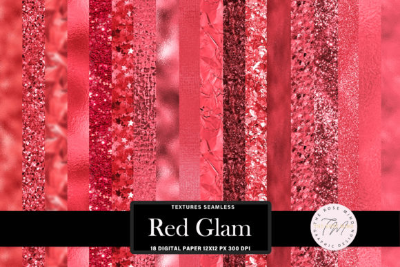 Print on Demand: Digital Paper Red Glam, Seamless Texture Graphic Backgrounds By The Rose Mind