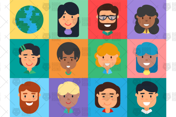 Print on Demand: Diverse People Avatars Set Graphic Objects By barsrsind