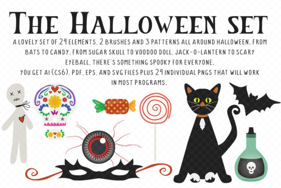 Everything Halloween Set Graphic Illustrations By My Little Black Heart