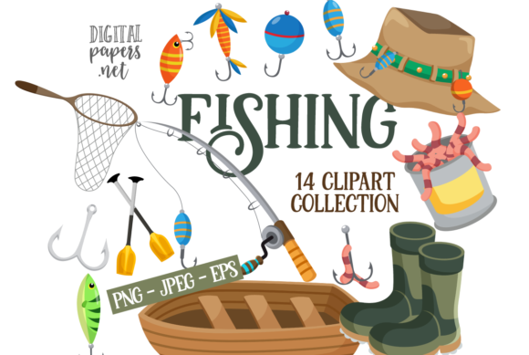 Print on Demand: Fishing Clipart Graphic Illustrations By DigitalPapers