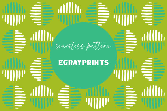 Print on Demand: Green Striped Doodle Spots Pattern Graphic Patterns By brightgrayart