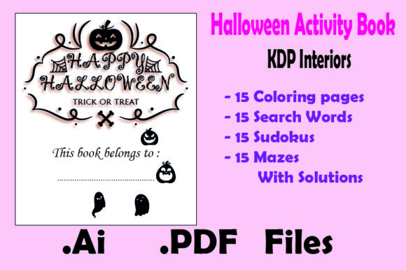 Halloween Activity Book : 60 Game Pages Graphic KDP Interiors By KDP_Interior_101 - Image 1