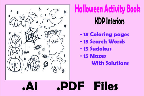 Halloween Activity Book : 60 Game Pages Graphic KDP Interiors By KDP_Interior_101 - Image 2