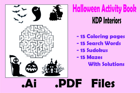 Halloween Activity Book : 60 Game Pages Graphic KDP Interiors By KDP_Interior_101 - Image 4