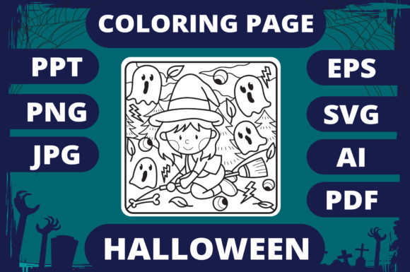 Print on Demand: Halloween Coloring Page for Kids #1 V2 Graphic Coloring Pages & Books Kids By MikeToon Studio