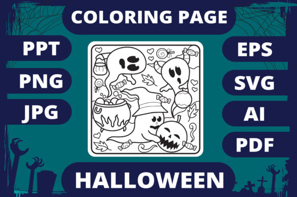 Print on Demand: Halloween Coloring Page for Kids #10 V2 Graphic Coloring Pages & Books Kids By MikeToon Studio - Image 1