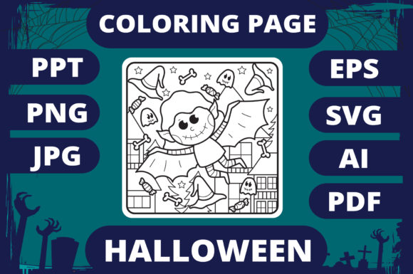 Halloween Coloring Page for Kids #11 V2 Graphic