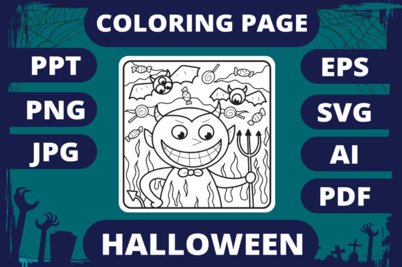 Print on Demand: Halloween Coloring Page for Kids #12 V2 Graphic Coloring Pages & Books Kids By MikeToon Studio