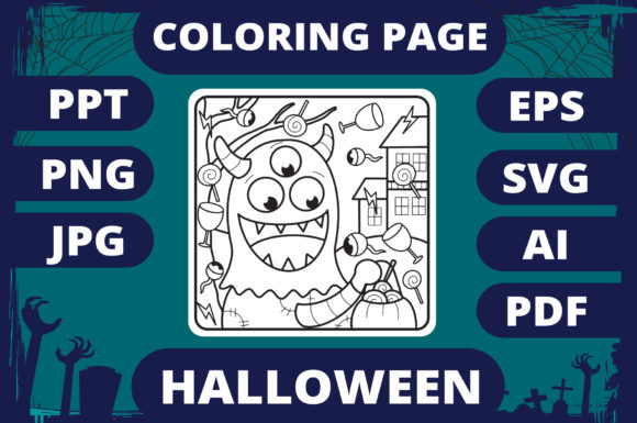 Print on Demand: Halloween Coloring Page for Kids #13 V2 Graphic Coloring Pages & Books Kids By MikeToon Studio