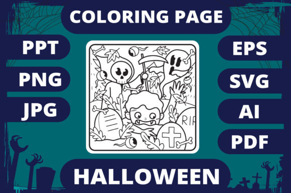 Print on Demand: Halloween Coloring Page for Kids #14 V2 Graphic Coloring Pages & Books Kids By MikeToon Studio