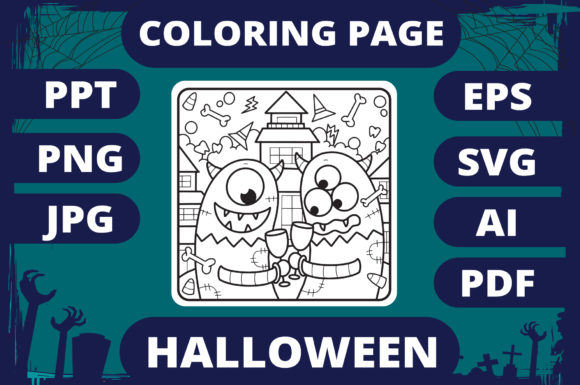 Print on Demand: Halloween Coloring Page for Kids #15 V2 Graphic Coloring Pages & Books Kids By MikeToon Studio