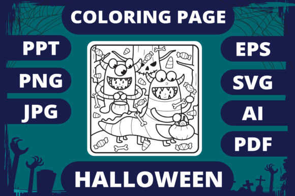 Print on Demand: Halloween Coloring Page for Kids #16 V2 Graphic Coloring Pages & Books Kids By MikeToon Studio