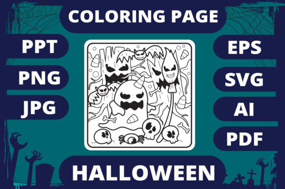 Print on Demand: Halloween Coloring Page for Kids #18 V2 Graphic Coloring Pages & Books Kids By MikeToon Studio