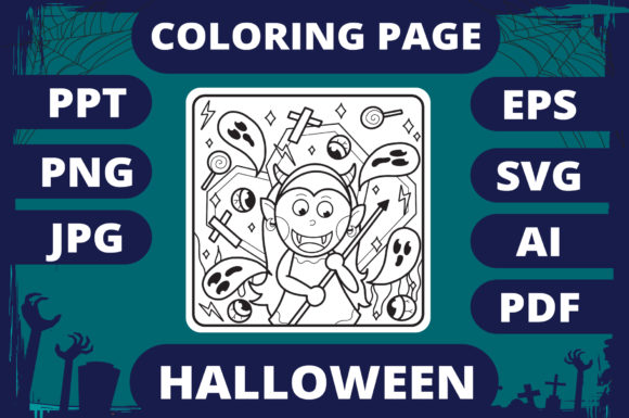 Print on Demand: Halloween Coloring Page for Kids #19 V2 Graphic Coloring Pages & Books Kids By MikeToon Studio