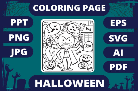 Print on Demand: Halloween Coloring Page for Kids #2 V2 Graphic Coloring Pages & Books Kids By MikeToon Studio