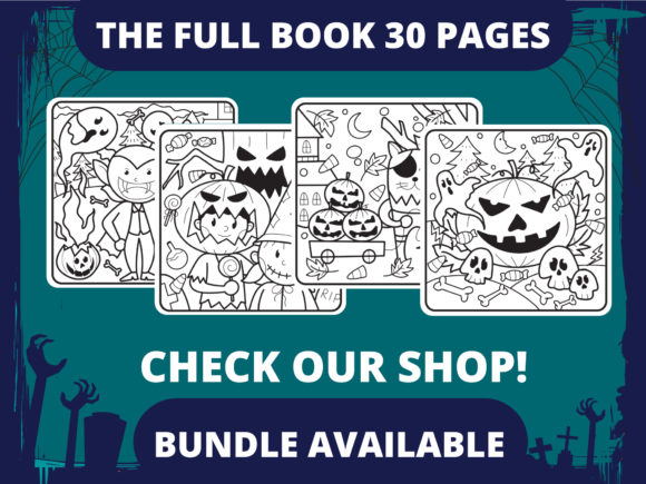 Halloween Coloring Page for Kids #2 V2 Graphic Item