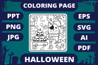 Print on Demand: Halloween Coloring Page for Kids #20 V2 Graphic Coloring Pages & Books Kids By MikeToon Studio