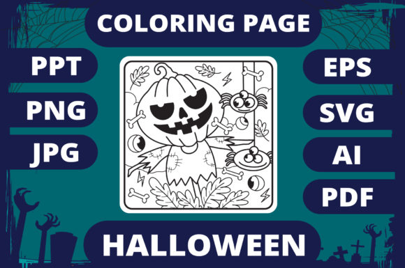 Print on Demand: Halloween Coloring Page for Kids #21 V2 Graphic Coloring Pages & Books Kids By MikeToon Studio