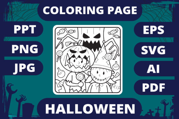 Print on Demand: Halloween Coloring Page for Kids #22 V2 Graphic Coloring Pages & Books Kids By MikeToon Studio
