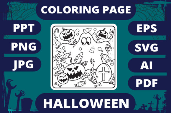 Print on Demand: Halloween Coloring Page for Kids #23 V2 Graphic Coloring Pages & Books Kids By MikeToon Studio
