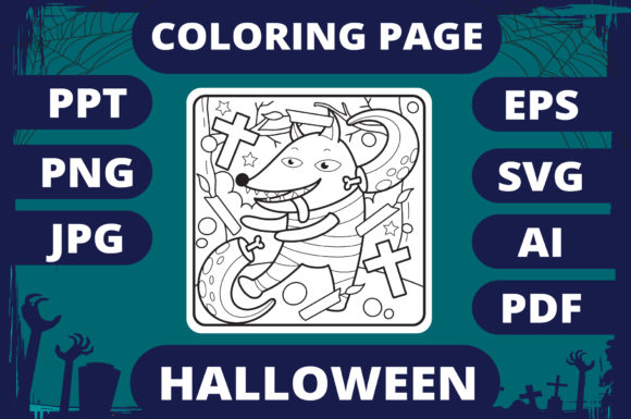 Print on Demand: Halloween Coloring Page for Kids #25 V2 Graphic Coloring Pages & Books Kids By MikeToon Studio