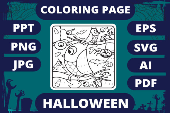 Print on Demand: Halloween Coloring Page for Kids #26 V2 Graphic Coloring Pages & Books Kids By MikeToon Studio