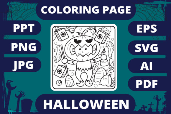 Print on Demand: Halloween Coloring Page for Kids #27 V2 Graphic Coloring Pages & Books Kids By MikeToon Studio - Image 1