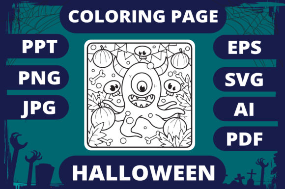 Print on Demand: Halloween Coloring Page for Kids #28 V2 Graphic Coloring Pages & Books Kids By MikeToon Studio